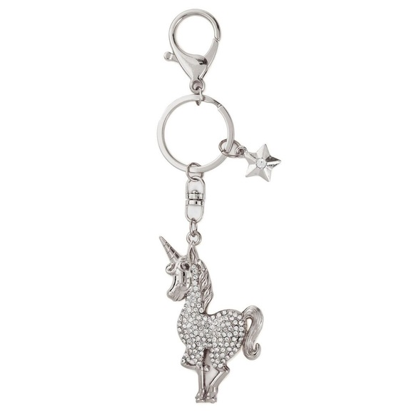 Accessories - Bejeweled Silver Unicorn Keychain